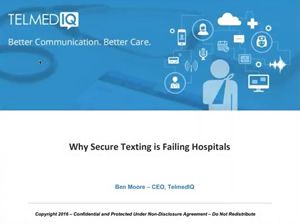 Screenshot for the Why Secure Texting is Failing Hospitals webinar.