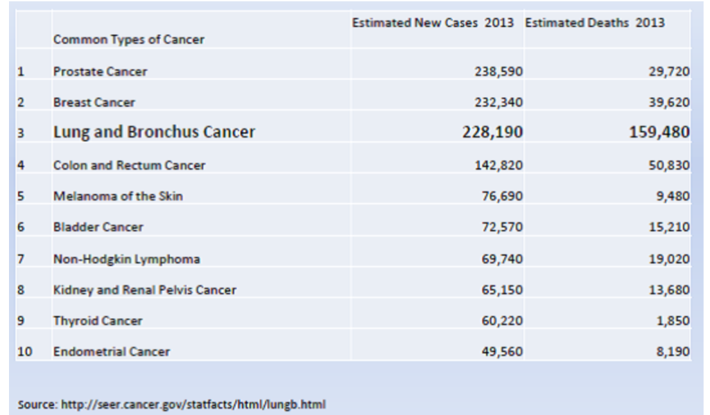 Chart showing number of new cases in 2013 and estimated deaths of various cancers