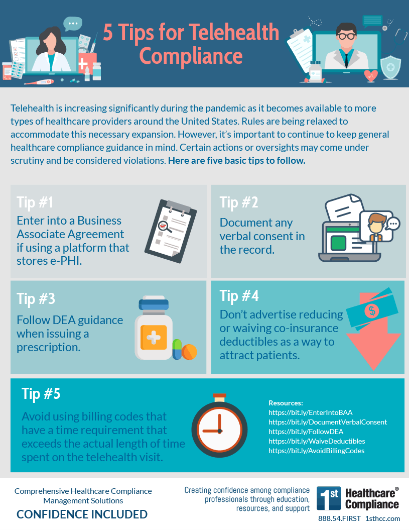 Infographic: 5 Tips for Telehealth Compliance